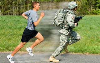 2 pictures in 1, a man in shorts and a tshirt running. Then fast forwarded to the same man in full army gear running.