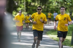 Iron Eagles Serves Air Force ROTC, air force cadets doing their fitness run as a group