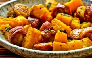 Winter Squash and Sausage with Herbs, picutre of a bowl of the meal hot and ready