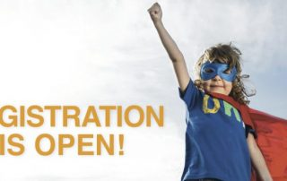 "Summer and Fall Registration is now OPEN, girl in a super hero outfit with her hand up ready for ""registration is now open"""