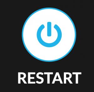 50 Christian Leaders Launch into ReStart September 7th!., ReStart logo, the word restart in white with a black background