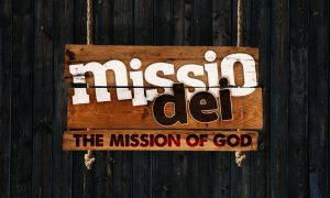 Missio Dei, the words on a wooden sign in white and black