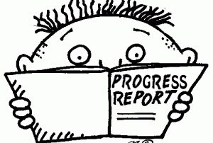 "Two week ReStart Your Heart Progress Report, black and white cartoon with a book saying ""Progress Reports"""
