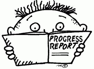 """Two week ReStart Your Heart Progress Report, black and white cartoon with a book saying """"Progress Reports"""""""