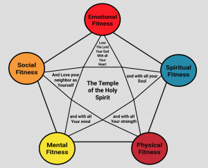 Five Fold Health is the Key to True Health, a grid of health, multicolor. The reason why MissionFiT wants you!