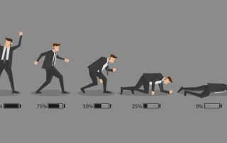 Burnout Beliefs, a cartoon man in a suit in different stages of burning out.