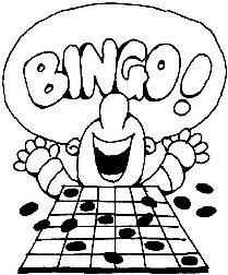 Cartoon of Person with Hands in Air Shouting BINGO!