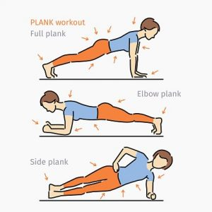 Variations on the Plank exercise. Part of MissionFiT's Movement Library